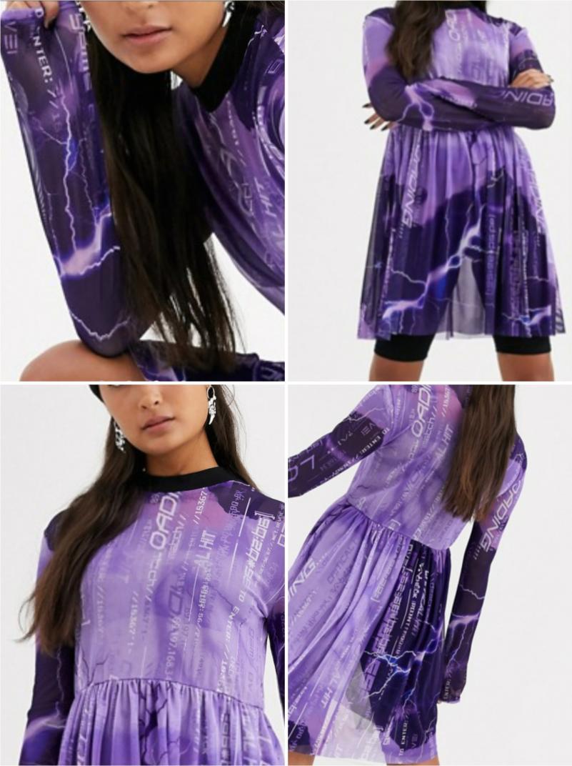Отзыв на С длинными рукавами, клеш Мини-платье Сетка ткань с Блиц-Принт из Интернет-Магазина