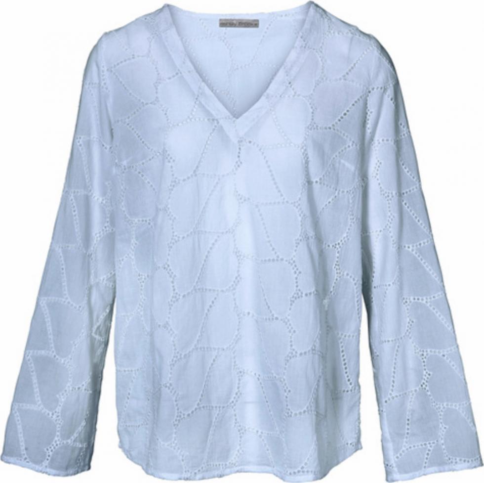 Отзыв на Эшли Брук Блузка Туника легко прозрачные для женщин С Длинным Рукавом Блузка с вышитыми отверстиями Светло-голубой из Интернет-Магазина Outlet46