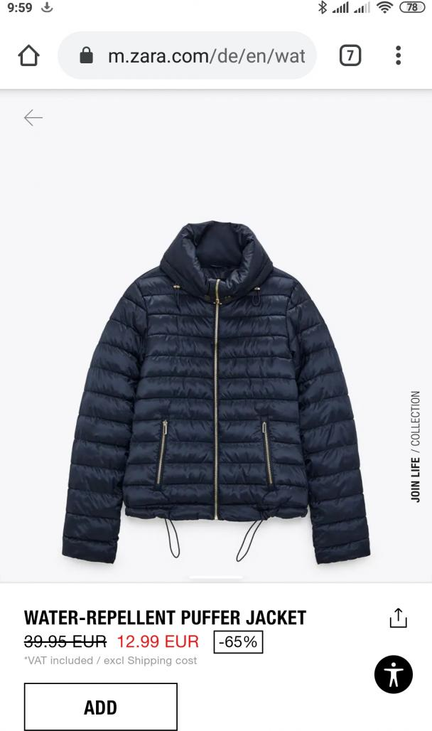 Отзыв на WATER-REPELLENT PUFFER JACKET из Интернет-Магазина Zara