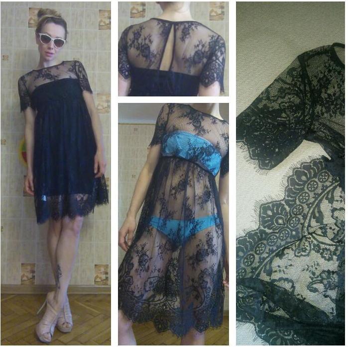 Отзыв на Кружевное прозрачное платье с коротким рукавом черное из Интернет-Магазина