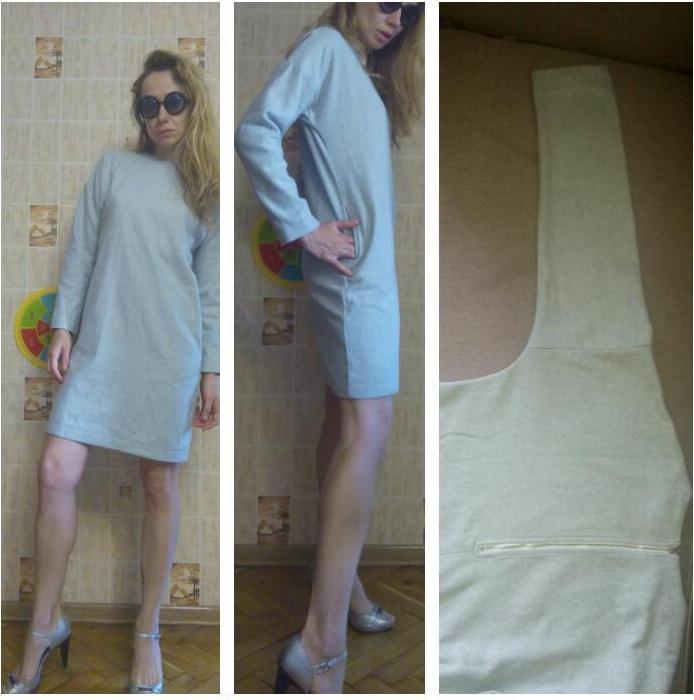 Отзыв на Платье с круглым воротником с карманами - серое из Интернет-Магазина