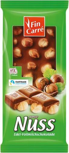 Отзыв на Фин КВАДРАТ Благородный молочный шоколад с цельными лесными орехами из Интернет-Магазина LIDL