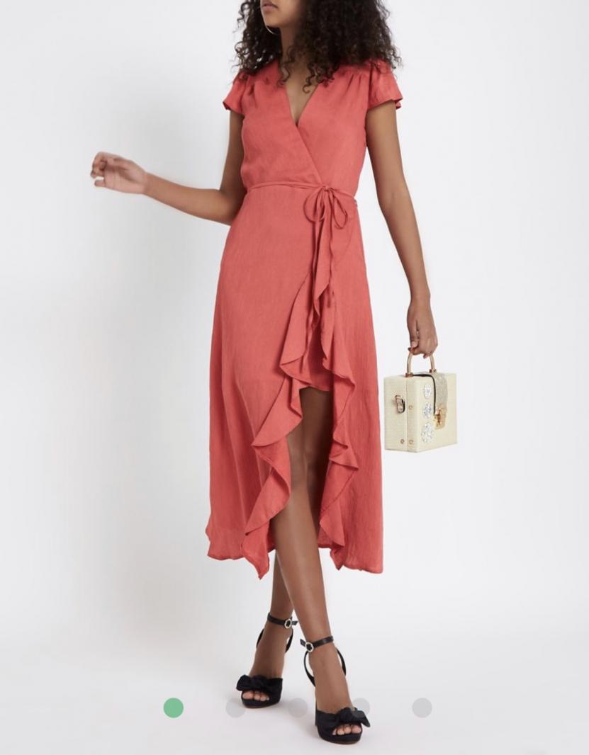 Отзыв на pink-frill-tie-waist-midi-dress из Интернет-Магазина Riverisland.de