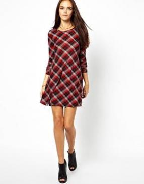 Отзыв на Гламурная – клеш Платье с трикотажа с Плед из Интернет-Магазина Asos