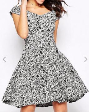 Отзыв на Closet – Bardot-Skaterkleid aus gemustertem Jacquard из Интернет-Магазина Asos