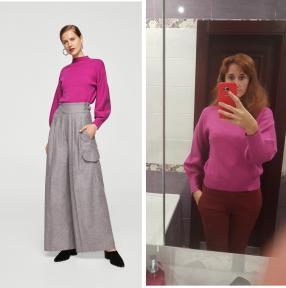 Пуловер с Шар рукава