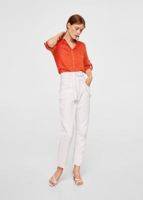 Льняная рубашка с карманами