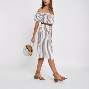 Braunes, gestreiftes Bardot-Kleid