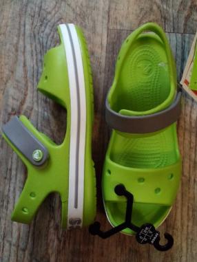 Crocs для детей Сандалии Crocband 12856-3K9 34-35 Это было Зеленый/Дым |