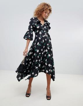 Влияние – Ситцевый, асимметричный Midi-Досуг Платье с На спине вырез