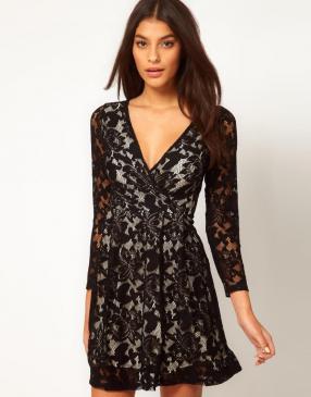 Отзыв на ASOS – Длинными рукавами платье на запах с кружевом из Интернет-Магазина Asos