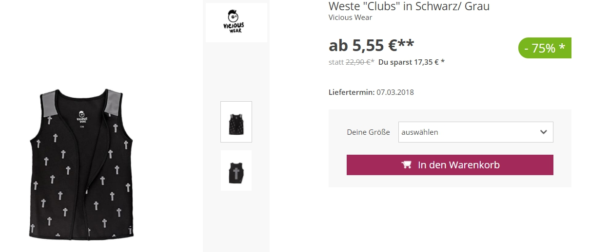 На одежду Vicious Wear скидки до 85% из магазина LIMANGO (Германия)