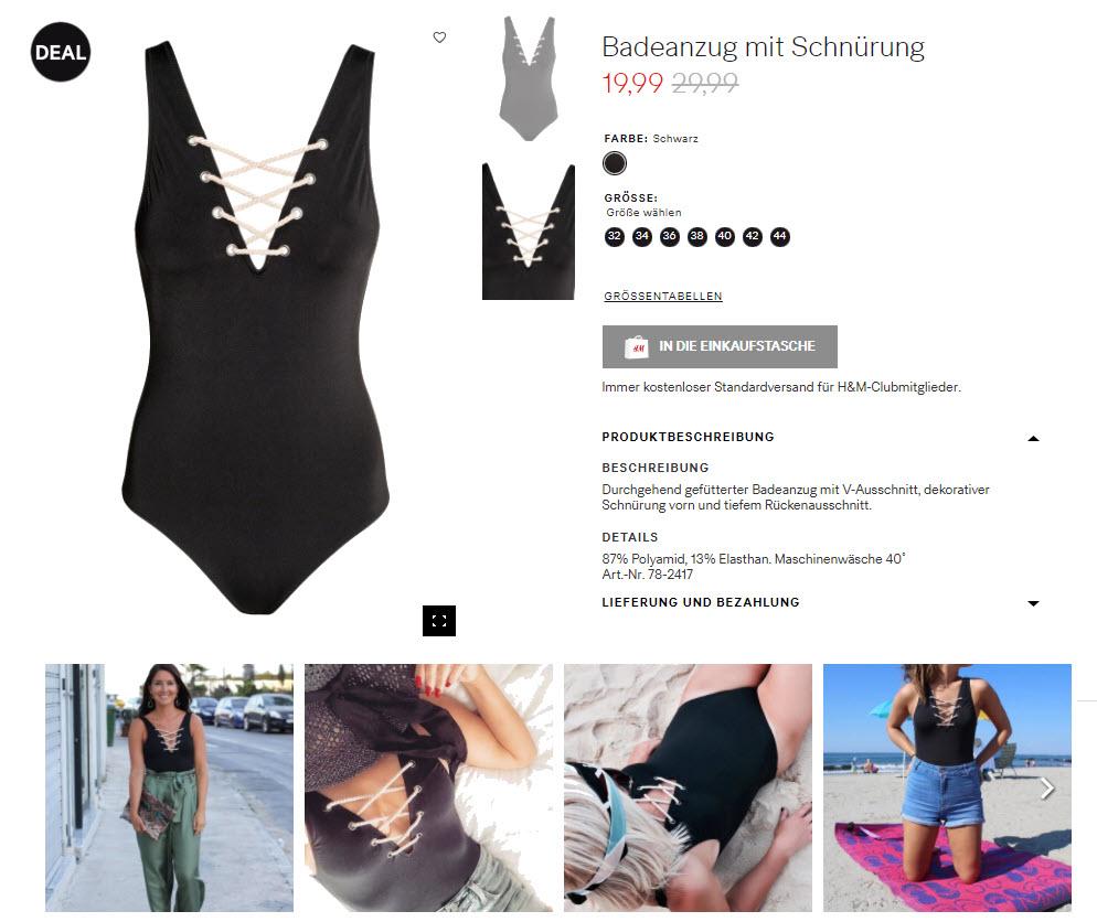 На купальники скидка до 50% из магазина H&M (Германия)