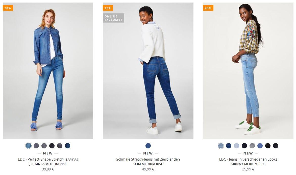 На джинсы, свитера и толстовки  Доп. скидка 20% из магазина ESPRIT (Германия)