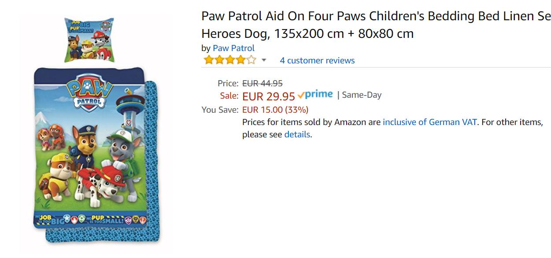 Paw Patrol коллекция   скидки до 38% из магазина Amazon (Германия)