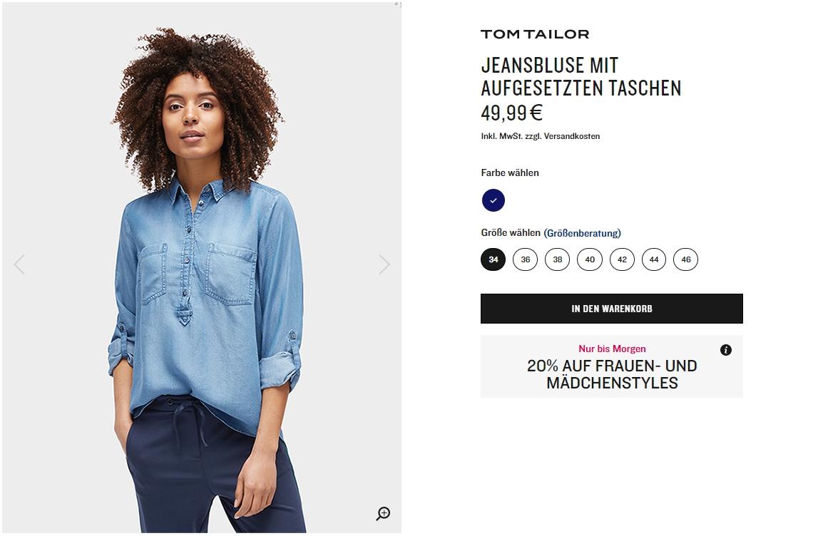 На женскую коллекцию Доп. скидка 20% из магазина Tom Tailor (Германия)