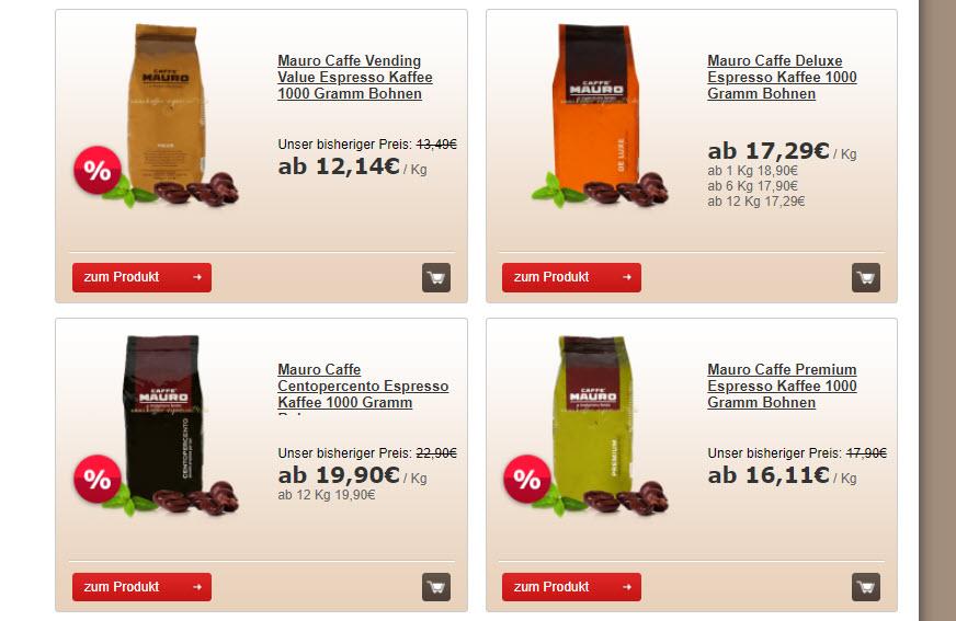 Кофе эспрессо в зернах скидка 10% из магазина Kaffee-espresso24 (Германия)
