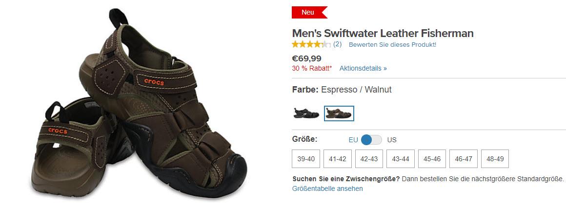 На обувь от известного бренда Доп. скидка 30% из магазина Crocs (Германия)