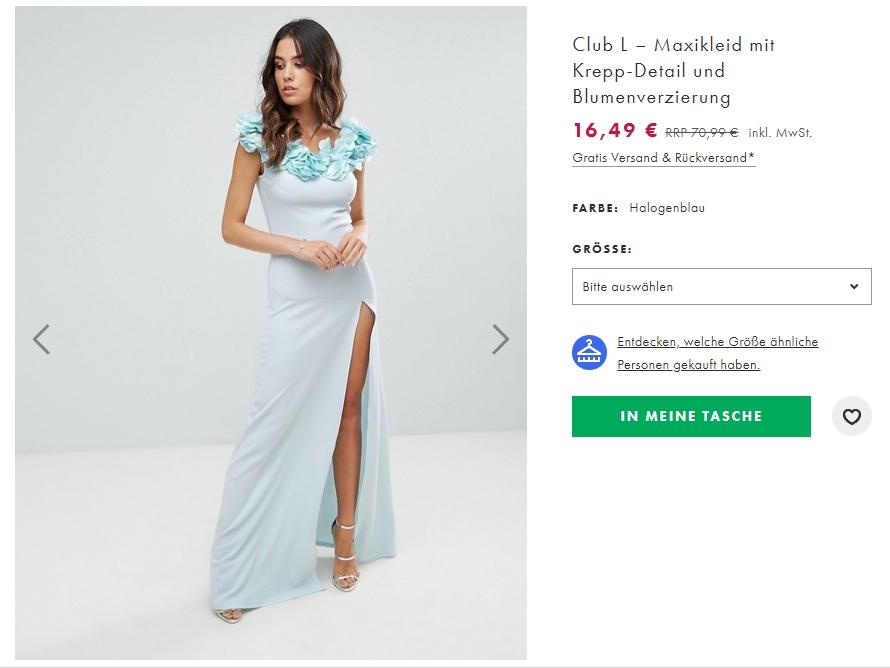 На вечерние платья и сопутствующие аксессуары скидки до 60% из магазина Asos (Германия)