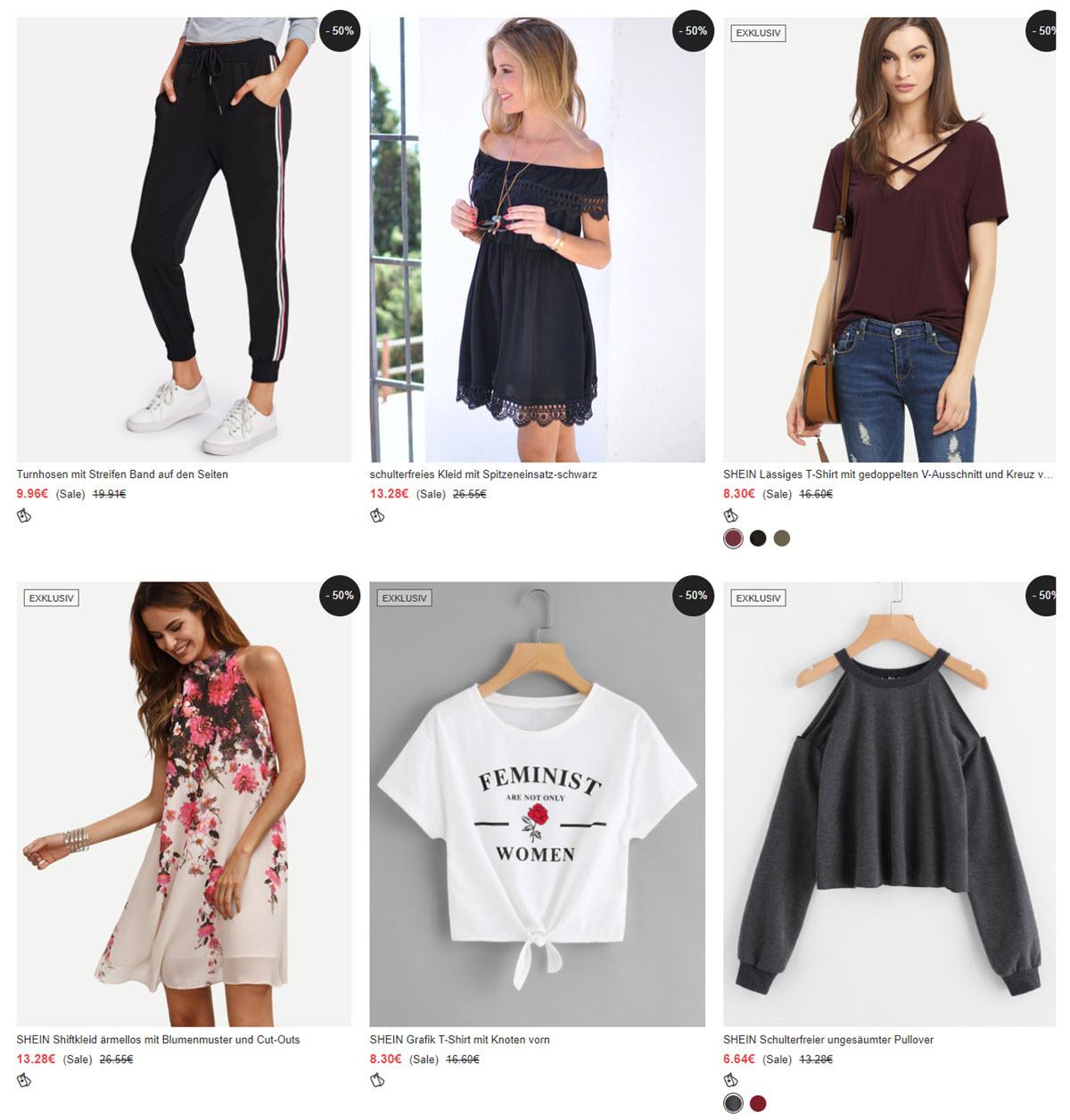 Модная одежда скидка 50% из магазина Shein (Германия)