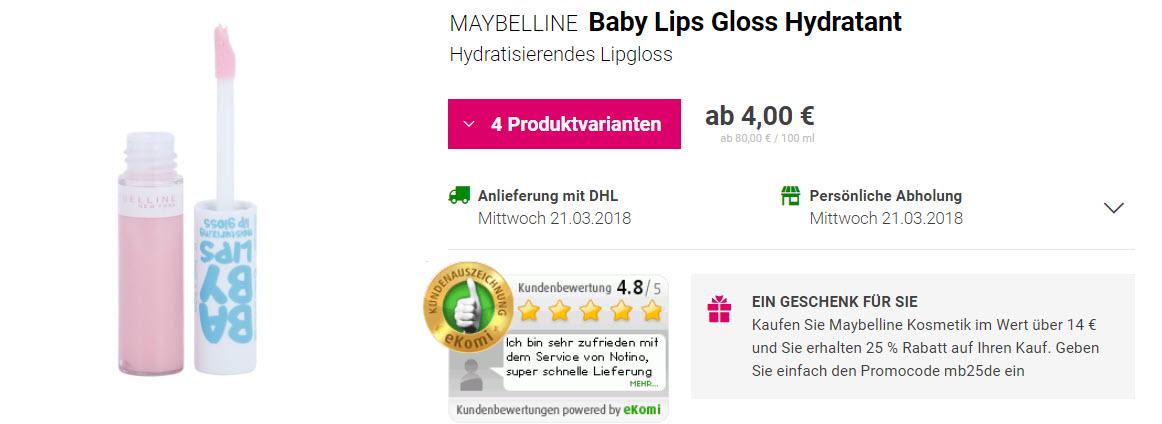 На косметику MAYBELLINE Доп. скидка 25% из магазина Notino (Германия)