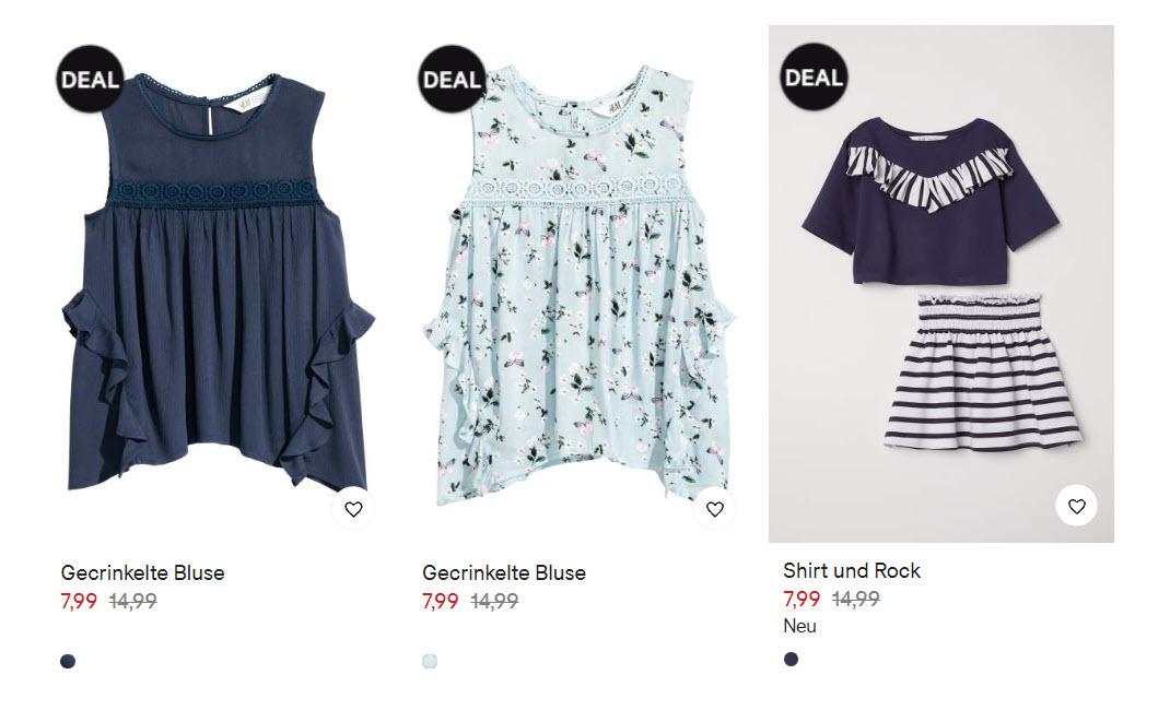 Одежда для девочек за 7,99 € скидка 50% из магазина H&M (Германия)