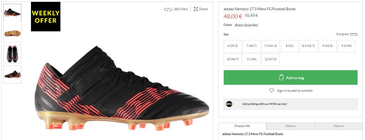 Спортивная обувь ADIDAS скидка 50% из магазина Sports Direct (Германия)