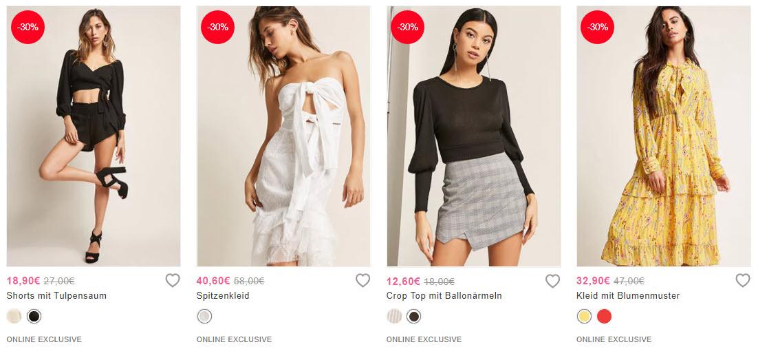 Эксклюзивная женская одежда скидка 30% из магазина Forever21 (Германия)
