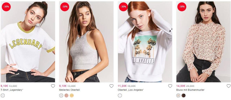 Блузки, топы, кофты скидка 30% из магазина Forever21 (Германия)