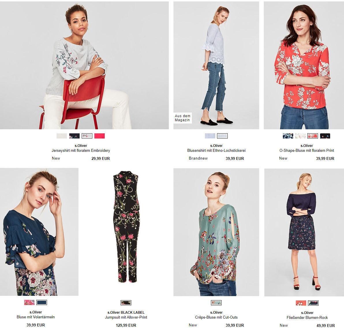 Женская одежда с цветочными принтами и вышивкой Доп. скидка 20% из магазина s.Oliver (Германия)