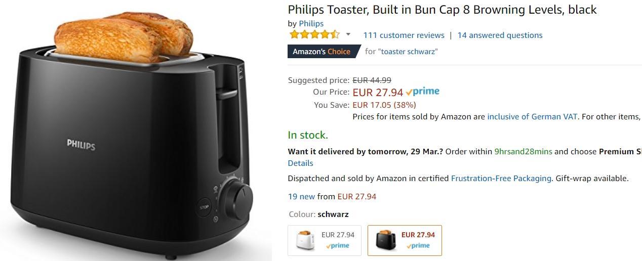Philips тостер и чайник  скидки до 58% из магазина Amazon (Германия)