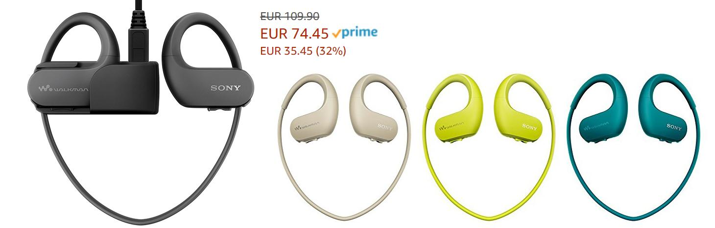 Спортивный плеер-наушники Sony Walkman скидки до 32% из магазина Amazon (Германия)