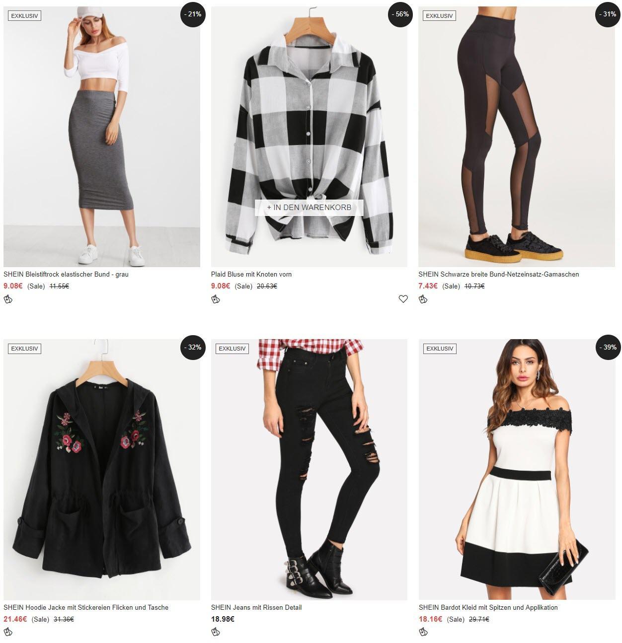 Одежда и аксессуары бесплатный шип от 39 евро скидки до 70% из магазина Shein (Германия)