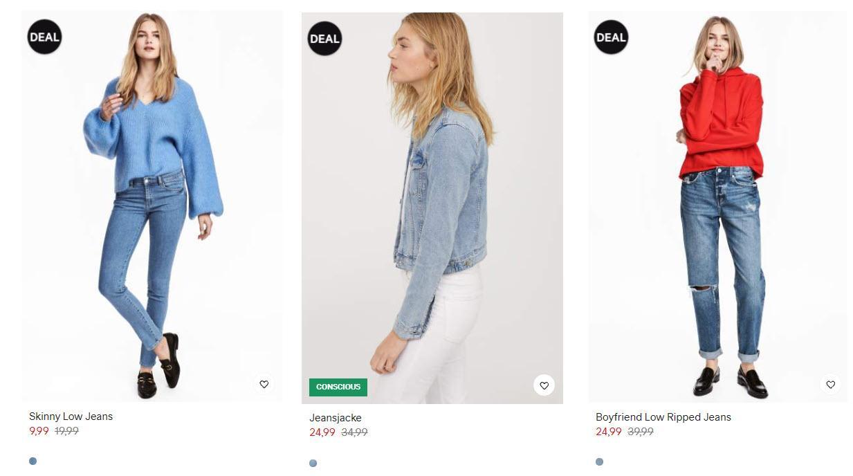 Джинсы и базовая коллекция Скидки до 50% из магазина H&M (Германия)