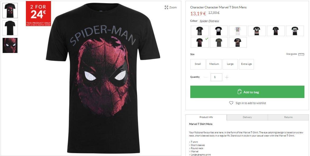 Одежда и аксессуары с супергероями Marvel Скидки до 70% из магазина Sports Direct (Германия)