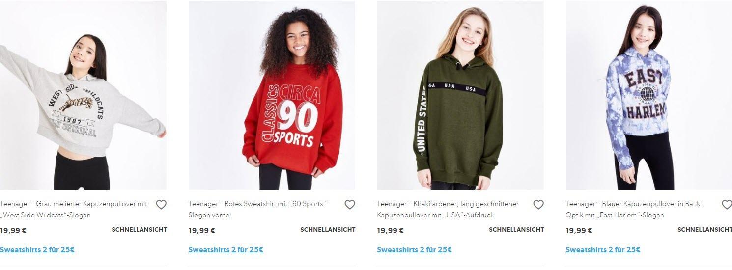 Толстовки для подростков 2 за 25€ скидки до 45% из магазина New Look (Германия)