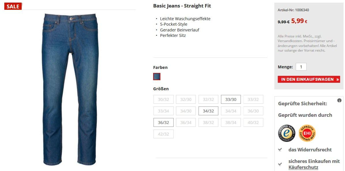 Мужские джинсы за 5,99 € скидки до 70% из магазина Kik.de (Германия)