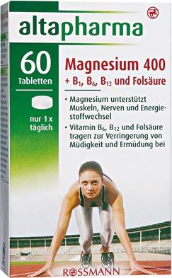 Отзыв на Altapharma Магний 400  B1, B6, В12  Фолиевая кислота из Интернет-Магазина ROSSMANN