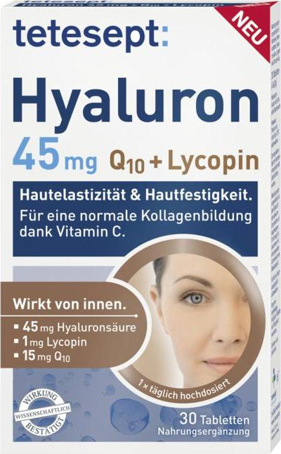 Отзыв на tetesept Hyaluron 45mg Q10 + Lycopin Tabletten из Интернет-Магазина ROSSMANN