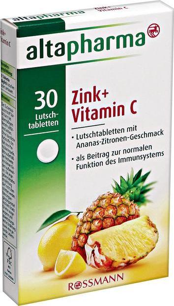 Отзыв на altapharma Lutschtabletten Zink + Vitamin C из Интернет-Магазина ROSSMANN
