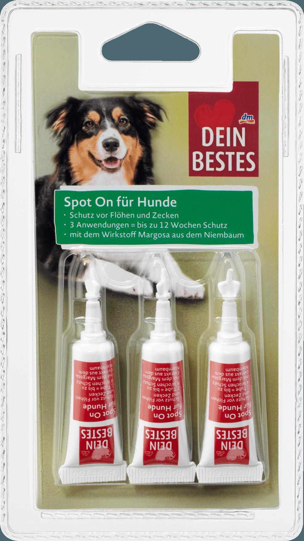 Отзыв на Zubehör für Hunde, Spot On Tropfen, Schutz vor Flöhen & Zecken, 3 x 2,5 ml, 7 g из Интернет-Магазина DM