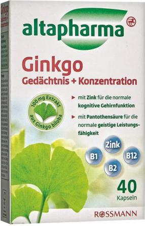 altapharma Ginkgo Gedächtnis + Konzentration