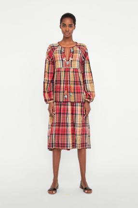 Отзыв на КЛЕТЧАТЫЙ Платье с вышитые цветы из Интернет-Магазина Zara