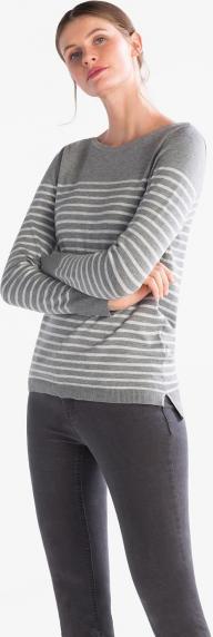 Пуловер - с тонкой вязкой полосатый