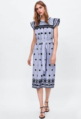 9a86519c53ee4f7 Отзыв на ПОЛОСАТЫЙ Платье с вышивкой из Интернет-Магазина Zara