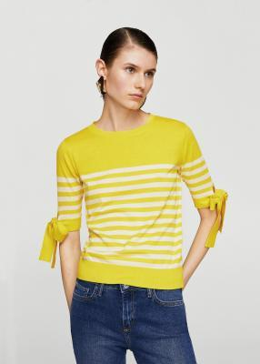 Striped пуловер с Шлифовка детали