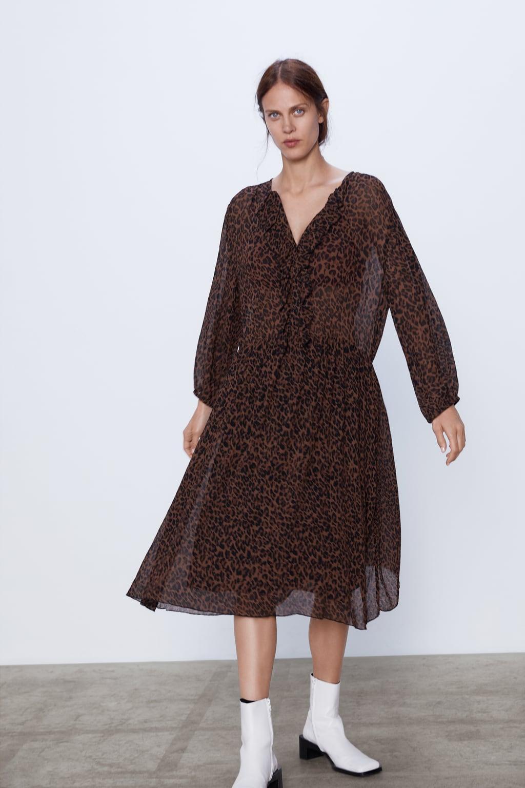 Отзыв на Платье с оборкой и ANIMALPRINT из Интернет-Магазина Zara