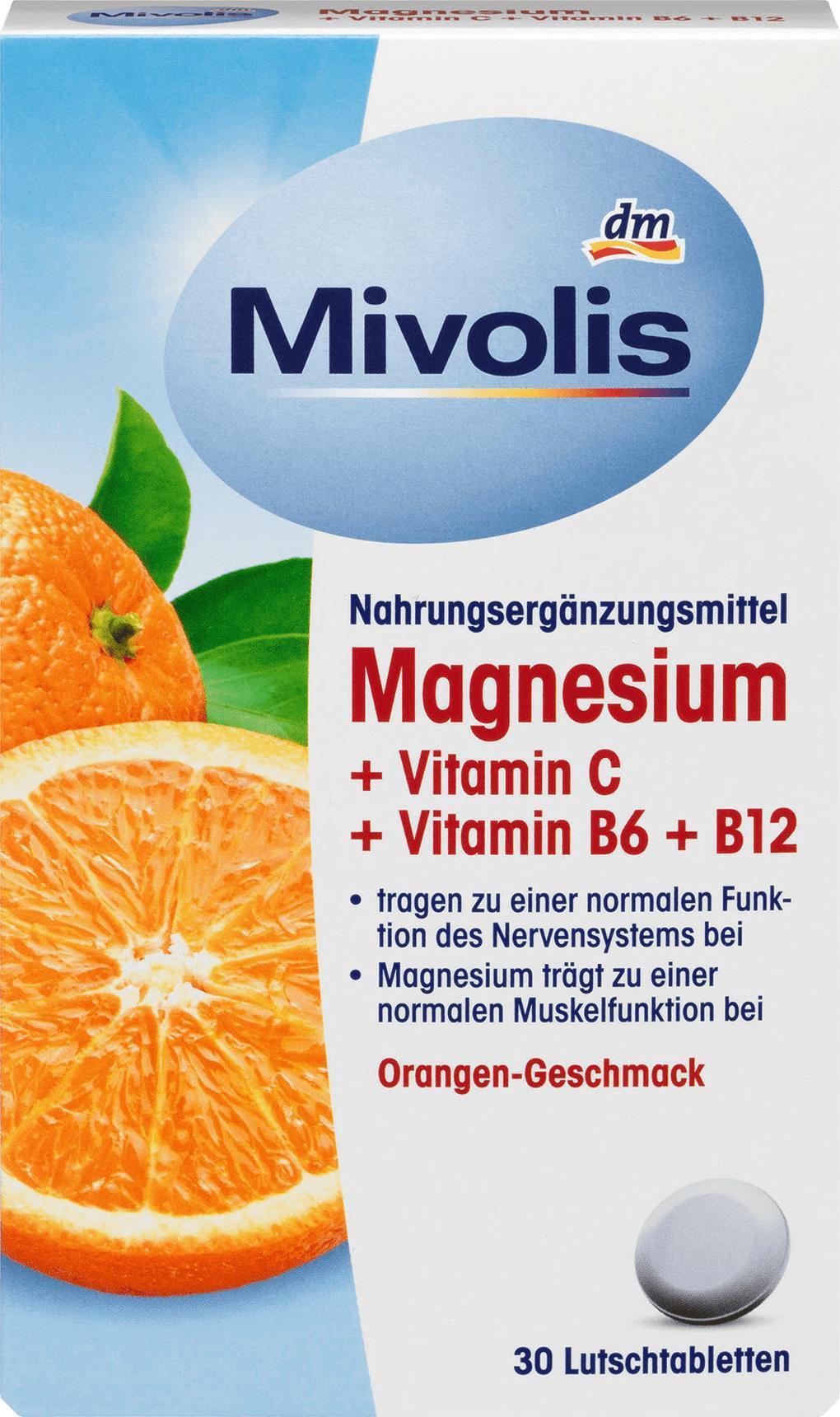 Отзыв на Magnesium + Vitamin C + Vitamin B6 + B12, Lutschtabletten, 30 St., 45 g из Интернет-Магазина DM