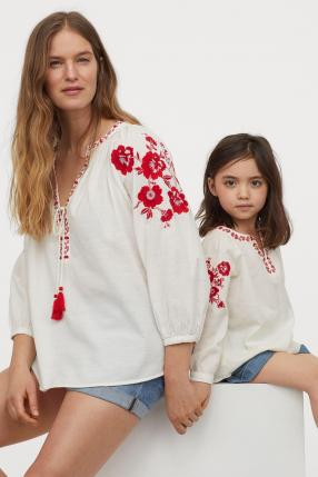 Вышитые Хлопковая блузка